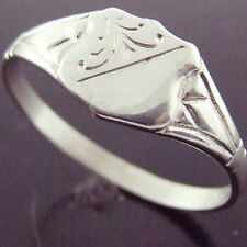 FS25 GENUINE REAL 925 STERLING SILVER ANTIQUE ENGRAVED STYLE SIGNET RING SIZE L