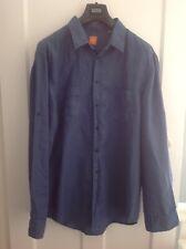 Men's Hugo Boss linen shirt. Blue. Size XXL