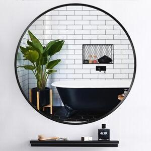 Round Wall Mirror Metal Black Frame Bathroom Bedroom Livingroom Decorative