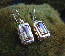 Sterling Silver .925 Handcrafted Mystic Topaz Baguette Canary Violet Earrings