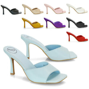 Womens Slip On Square Toe High Heel Ladies Synthetic Leather Heeled Mule Sandals