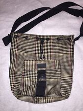 Ralph Lauren Women'S Medium Size Herring Bone Duffel Bag Tan/Blk/Cran/Olive