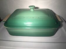 "LECREUSET - Covered Baking Casserole Dish- Green- 4.5 Qt. 12.5""x9"" NEVER USED!"