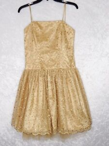 Nox Small Gold Short Ball Gown Prom Pageant Homecoming Formal Dress Glitter