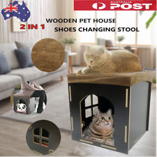Wooden Pet Cat Cube Bed House Puppy Dog Kennel Furniture Bench Kitten Condo