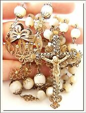 COLONIAL 1880's MOTHER PEARL BEADS & SILVER FILIGREE ROSARY ! VISIT MY STORE