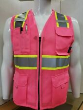 Two ToneHi Vis Reflective Pink Safety Vest for Traffic, Security, Volunteer Work