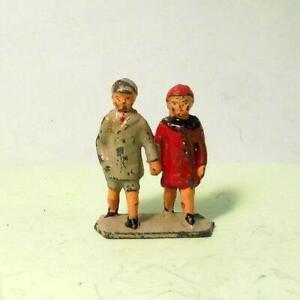Vintage Lead Zoo VISITORS - TWINS HOLDING HANDS  Taylor & Barrett PRE WAR 1930s