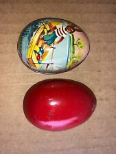 Early Vintage TIN  METAL EASTER EGG CONTAINER MADE IN SWITZERLAND