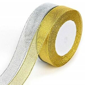Gold and Silver Glitter Sparkle Organza Ribbon 3mm, 6mm, 10mm, 12mm Xmas Giftwra