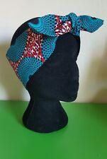 Sarcelle géométrique rouge African Wax print Foulard Bandana Head Wrap Cheveux Turban