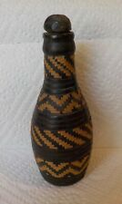 New listing Rare African Art Treasure from Sierra Leone Leather Wrapped Bottle Woven Fiber