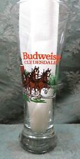 """BUDWEISER~1991~~ANHEUSER BEER GLASS  WITH CLYDESDALES~ CHRISTMAS~7.25"""""""