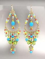 GORGEOUS Multicolor Crystals Gold Chandelier Earrings B25L