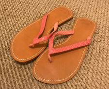 Vineyard Vines Womens Flip Flops All Leather Pink Whale Logo Sz 10 Excellent!