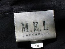 M.E.L. BlkCollaredOpenNeckS/sSheerLinen Size18