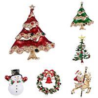 Christmas Tree Santa Claus Crystal Brooch Pin Women Xmas Party Costume Jewelry