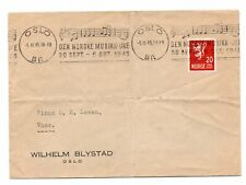 NORWAY: Cover advertising machine cancellation Music/notes 1945.