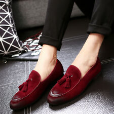 Mens Suede Leather Loafers Casual Shoes Slip On Tassel Dress Formal Business