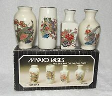 "Vintage Signed Japan-Miyako porcelain vases set of 4 NIB-Action Ind.-3 3/4"" tall"