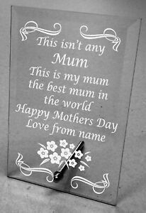 Plain or Engraved Glass Plaque Personalised  Mothers day gift