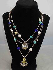 Betsey Johnson Gold SHIP SHAPE Anchor Sailboat Bauble Bead Illusion Necklace $48