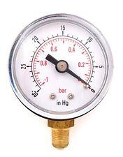 "Calibrador de vacío para agua o aceite combustible aire 40mm 0/30""Hg y 0/-1 Bar 1/8"" BSPT inferior"