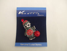 Christmas Penguin Brooch Antique Silver Colour Black And Red Crystal Stones New