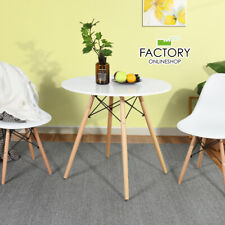Round Dining Table White Kitchen Modern Leisure Pedestal Coffee Table Wooden Leg