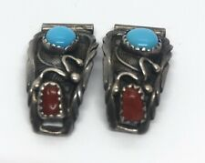 Vintage Sterling Silver Watch Tips Native American Coral Turquoise Running Bear