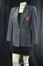 Rafaella Blazer Jacket Coat w Crest BOYFRIEND grey wool preppy SZ 4 S NEW VTG