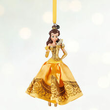 Disney Store Princess Belle Dress Christmas Ornament Figure w/ Lumiere Candle