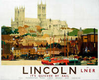 Lincolnshire - Its Quicker by Rail, LNER poster, 1924. OLD RAILWAY PHOTO