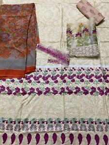 Salwar Kameez Unstitched Lawn With Chiffon Dupatta 3 Piece Suit