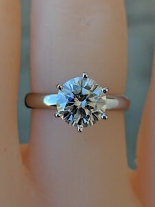 1.5Ct  Round Moissanite Solitaire Engagement Ring 14k solid  White  Gold