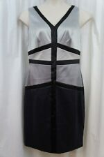 Sangria Dress Sz 10 Silver Black Blocked Satin Sheath Cocktail Evening Party