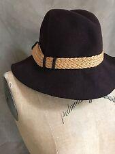Vintage GLENOVER WOOL FELT BROWN Floppy Hat WOVEN TRIM Henry Pollak