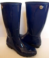 UGG SHAYE Tall Rain boots Blue Jay Sheepskin insole US 10/ 41 New 1002350