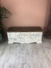 Carved Storage Box Whitewashed