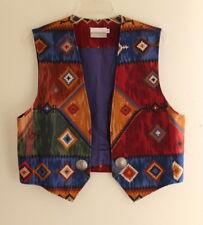 Coldwater Creek -Sz L Southwest Western Vivid Woven Blanket Vest Jacket