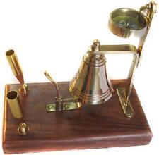 Portapenne nautico con bussola e campanello in ottone arredo scrivania ufficio