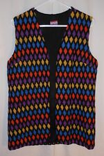 Vtg 70s Hippy Vest Pykettes Colorful Diamond Pattern Mod Boho Women's Medium