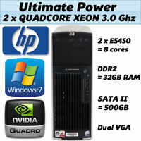HP Quad Core 3.00Ghz 32GB RAM 64-Bit Windows 7 Desktop PC Tower XW6600 500GB