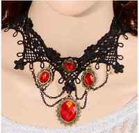 Lace Choker Victorian Gothic Collar Necklace black mix red Chain Jewelry Pendant