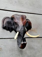 Asia Elephant Wood Wall Hanger Handcrafted Sculpture Antique Home Decoration