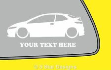 2x LOW YOUR TEXT Honda Civic FN2 Type RType S outline sticker decal 57