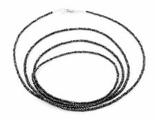 2mm BLACK DIAMOND NECKLACE Jet Black-Round Faceted.32 inch Certified