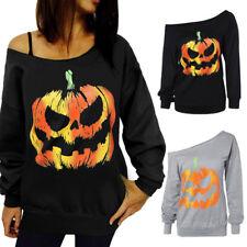 Halloween Pumpkin Hemd langärmelig Sweatshirt Oberteile Einschultrig Bluse