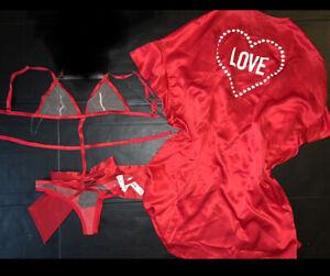 Victoria's Secret L bow TEDDY one-piece+O/S kimono ROBE RED white satin mesh
