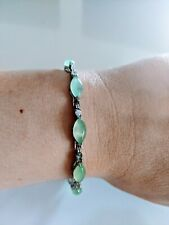 Vintage Silver Plate Light Green Jade Marquis Cabochon Stone Diamante Bracelet